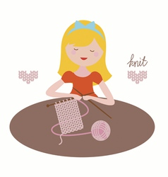 Girl with knit vector