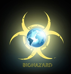 Biohazard symbol and planet earth vector