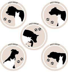 Dog and cat pet shop icons vector