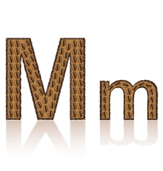 Letter m is made grains of coffee isolated on whit vector
