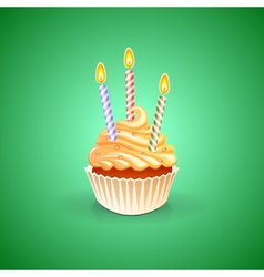 Birthday greeting card with cupcake vector