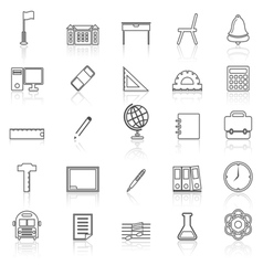 School line icons with reflect on white vector