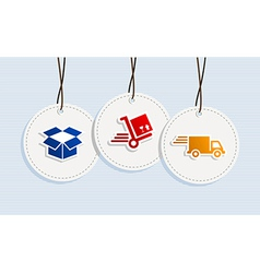 Hanging shipping badges vector