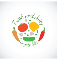 Juicy and fresh vegetables symbol icon or stamp vector