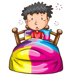 A boy at the bed vector