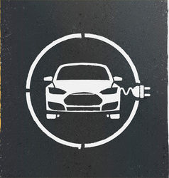 Electric eco car charging station icon vector