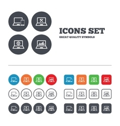 Notebook laptop pc icons repair fix service vector