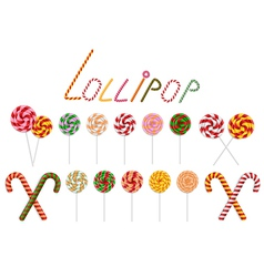 Lollipop and candy cane collection vector