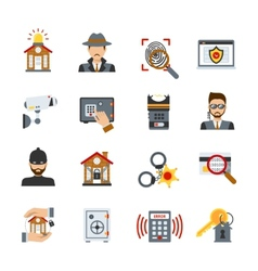 Surveillance and security icons set vector