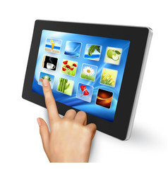 Tablet pc with icons and hand vector