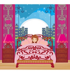 A beautiful girl sleeping in bedroom vector