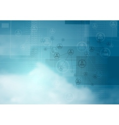 Blue cloudy sky tech background vector