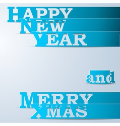 Blue happy new year merry xmas paper strips vector