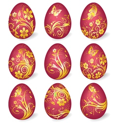 Collection of easter eggs with gold ornaments vector