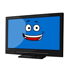 Cheeky smiling cartoon tv or monitor vector