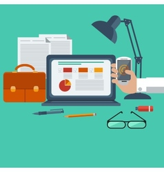 Workplace with laptop smartphone office objects vector