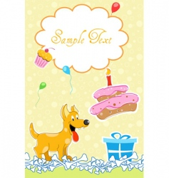 Puppy in birthday card vector