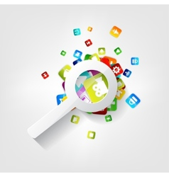 Search icon loupe symbol application button vector