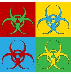 Pop art biohazard sign icons vector