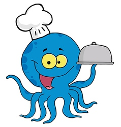 Octopus chef serving food in a sliver platter vector
