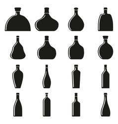 Set of bottles silhouettes vector