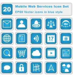 Mobile web services icon set vector