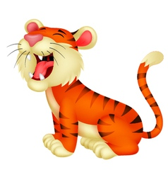 Tiger cartoon roaring vector
