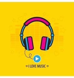 Flat headphones vector