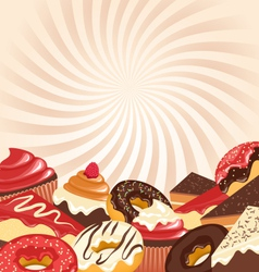 Sweets with radial stripes on beige vector