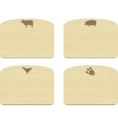 Set of empty wooden cutting boards with animals vector