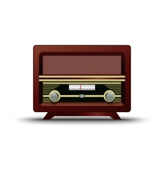 Old wooden retro radio on white background vector