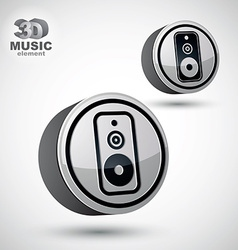 Audio speaker 3d round icon isolated vector