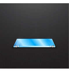 Glass empty exhibition shelf with floodlights vector