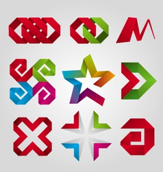 Collection of abstract logos of the tape vector
