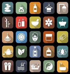 Spa flat icons with long shadow vector