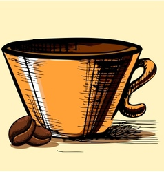 Cup with two coffee beans vector