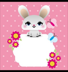 Easter bunny with butterflies vector