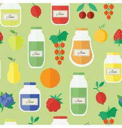 Seamless pattern with jars of jam in flat style vector