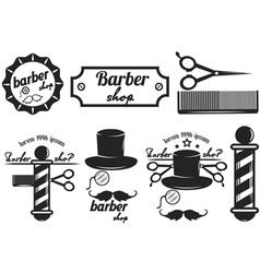 Set logos labels badges abarber shop vector