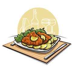 Schnitzel cutlet with boiled potato vector