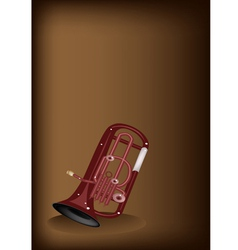 A musical euphonium on dark brown background vector
