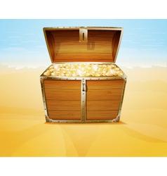 Treasure chest on a tropical beach vector