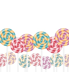 Multicolored lollipops on white vector