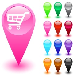 Shopping cart button vector