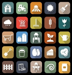 Farming flat icons with long shadow vector