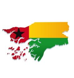 Guinea bissau africa map flag vector