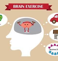 Brain exercise inside head vector