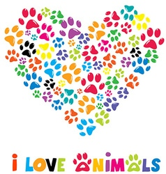 Colorful heart with animals footprints vector