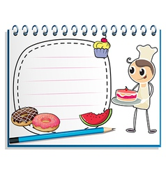A notebook with a drawing of a chef and foods vector