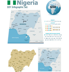 Nigeria maps with markers vector